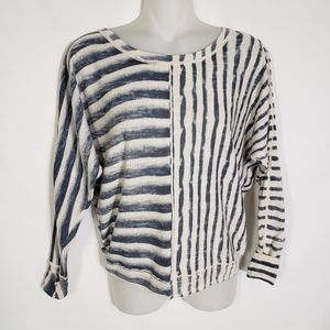 DKNY Jeans Top Blue Beige Striped Long Sleeve PS